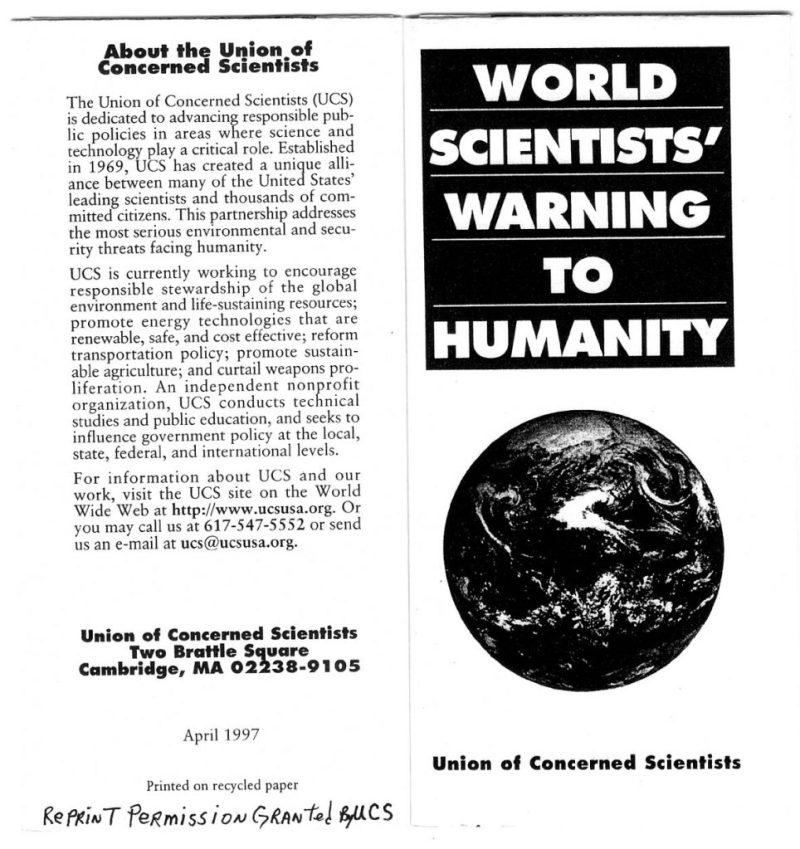 Second Warning to humanity