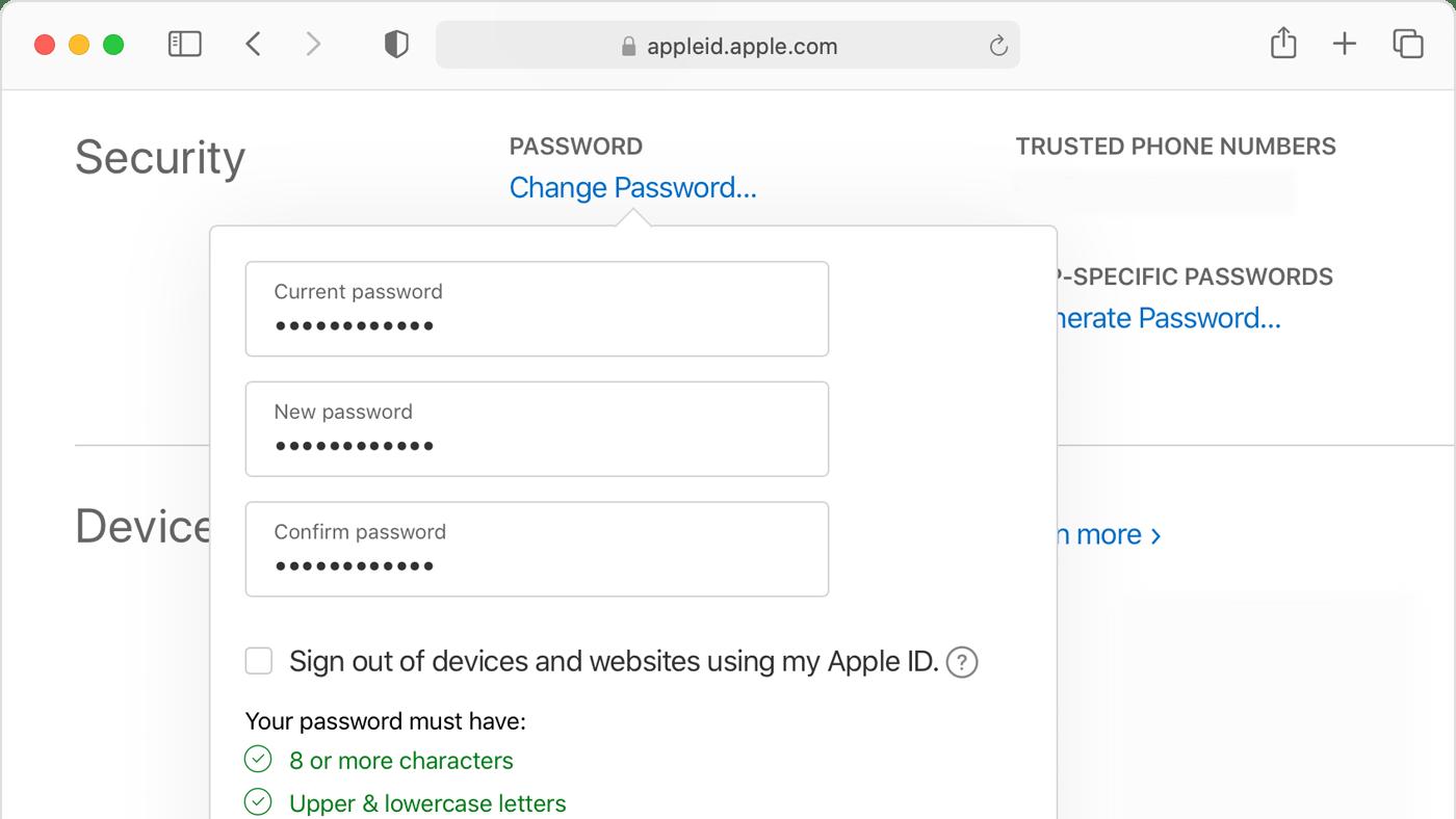Reset Apple ID password