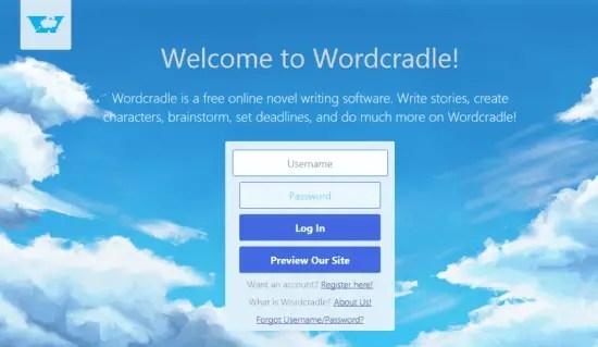 Wordcradle homepage