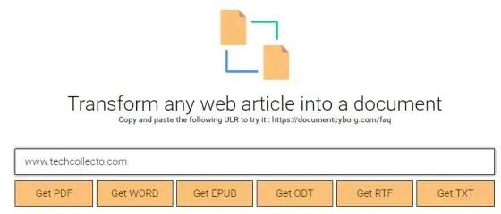 transform a webpage to pdf doc txt