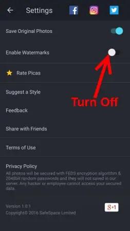 turn off enable watermarking