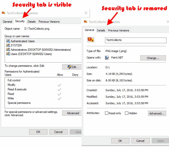 remove and add security tab in properties box in windows 10