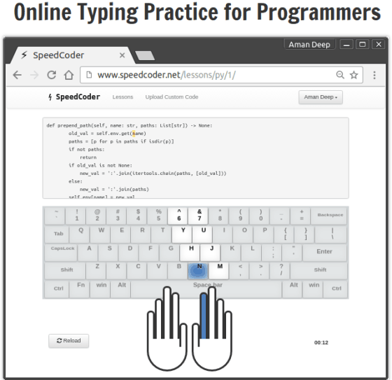 SpeedCoder service- online typing practice for programmers