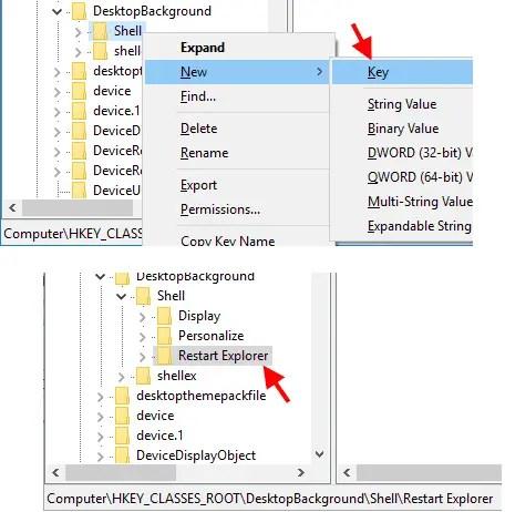 create restart explorer key