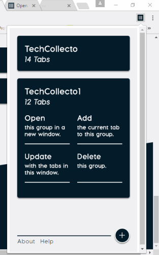 tabs added to groups and options visible for a group