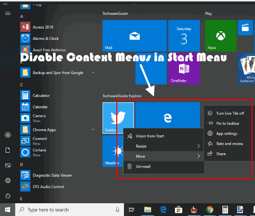 Enable or Disable Right Click Menus In Start Menu of Windows 10