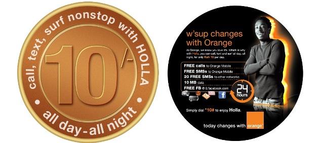 Orange Holla ten bob