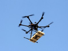 A drone flies over the archaeological site of Cerro Chepen as it takes pictures in Trujillo