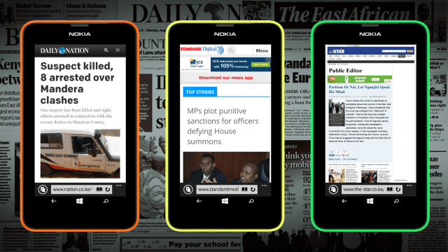 News Websites rendered on Windows Phone.