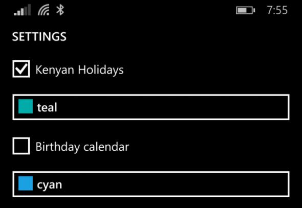 Turn on the recently added calendar via  Settings in the Windows Phone Calendar app.