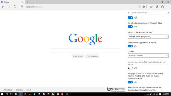 setting google as default search engine on microsoft edge