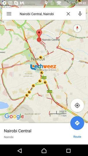 Google seems to be testing live traffic information for nairobi in google maps traffic updae sciox Image collections