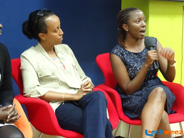 Amrote Abdella (left) and Linet Kwamboka answering questions from the audience