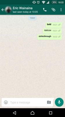 formatting text on Whatsapp
