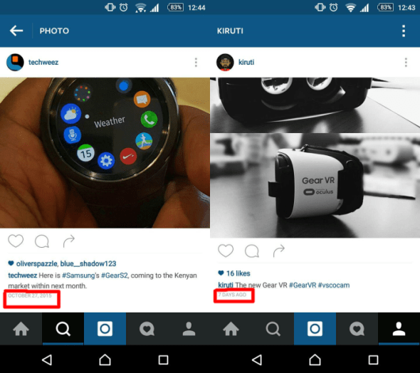instagram timestamp change