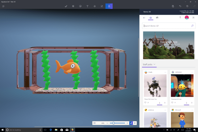 Windows 10 Creators 3D paint