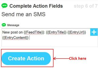 ifttt necessary details for sms