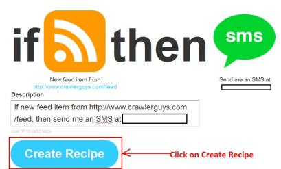 ifttt final step for getting sms
