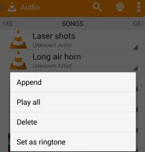 Long press on android VLC media file