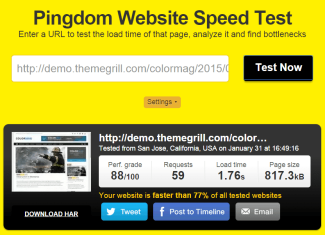 Pingdom result