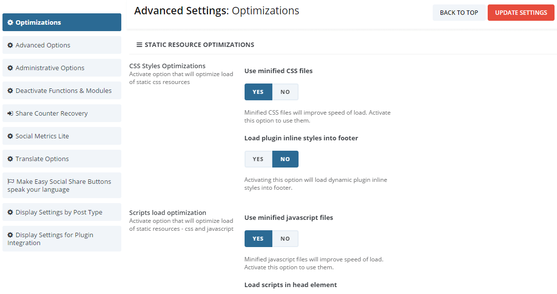 advanced options