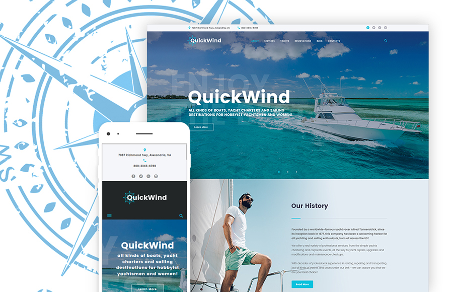 Yachting & Voyage Charter WordPress Theme