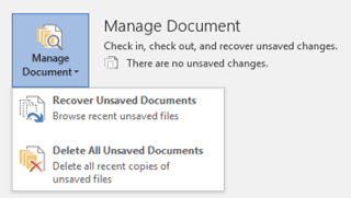 click Recover Unsaved Documents in the drop-down list