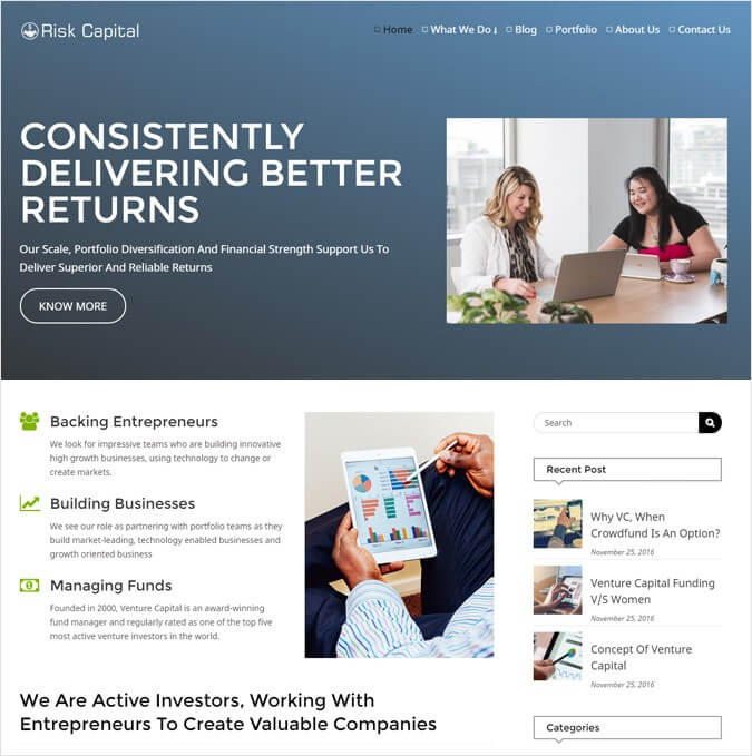 Venture Capital Firm WordPress Theme