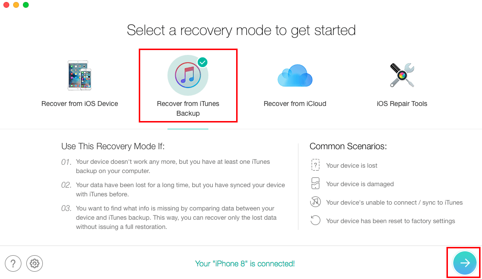 Recover Lost Messages After iOS 13/12.4.1/12 Update from iTunes - Step 1