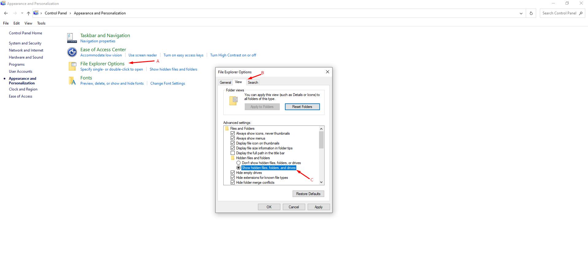 View Hidden Files