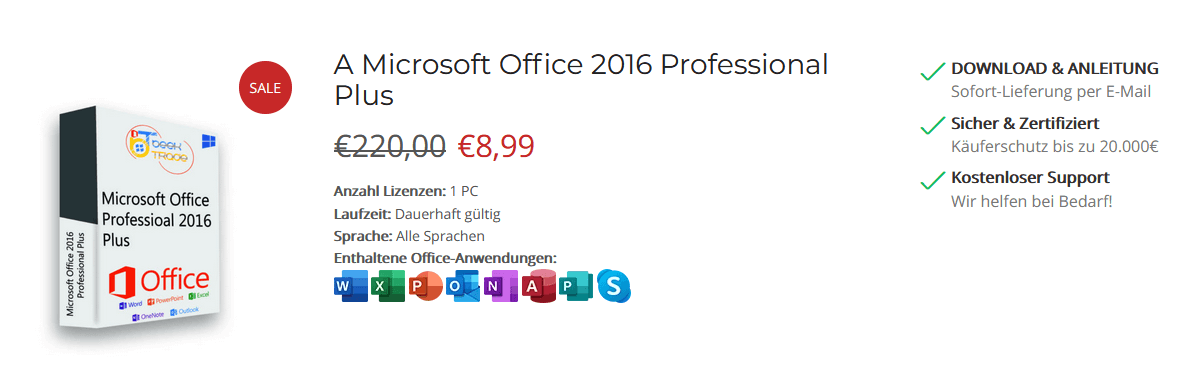 MS Office 2016 Professional Plus Pricing