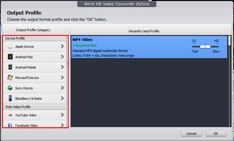 Devices in Output Profile