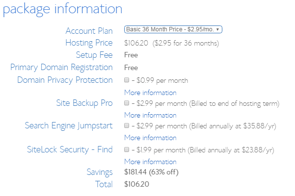 bluehost package details
