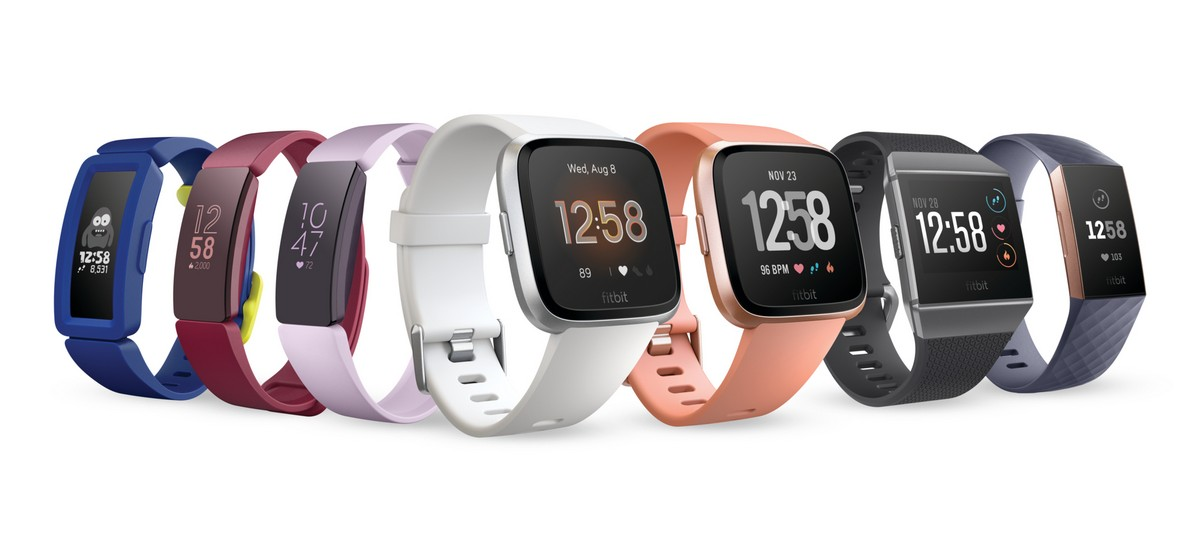 Render of 2019 Q1 Fitbit product family, without Aria 2