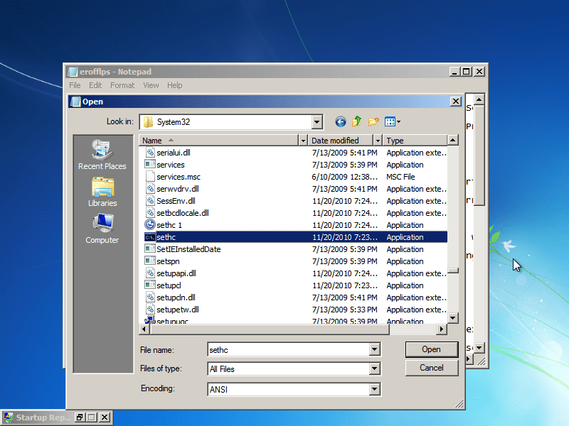 "Find ""sethc"" in the same folder. This file executes sticky keys. Rename it to ""sethc 1."""