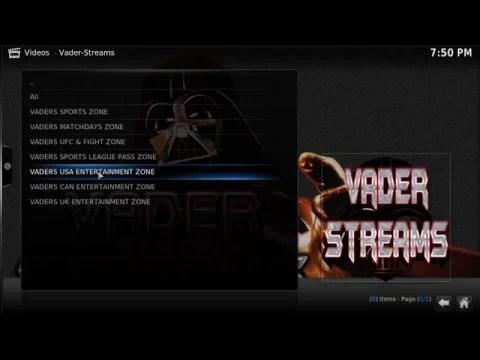 Vader Streams Addon