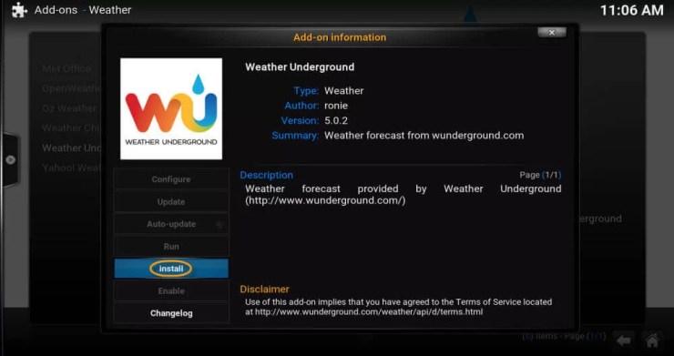 Weather Underground Kodi Addon