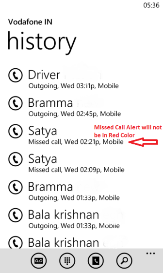 Missed Call alert not in red