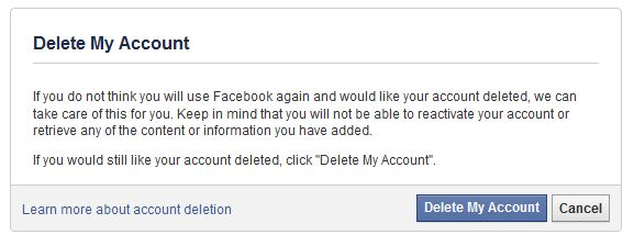 Delete Facebook Permanently Step 4