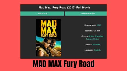 MAD MAX Fury Road Full Movie
