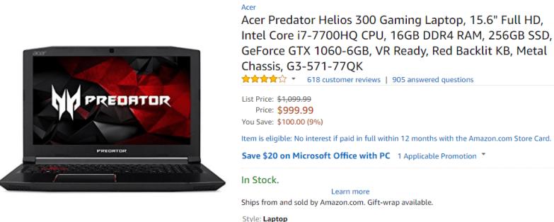 acer helios 300 gaming laptop