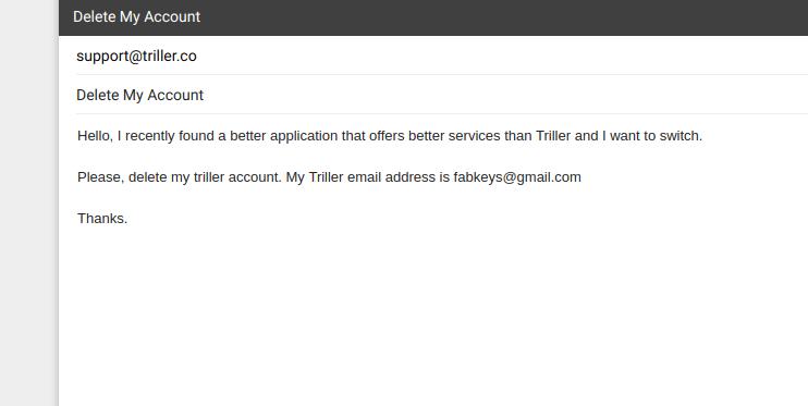 delete triller account