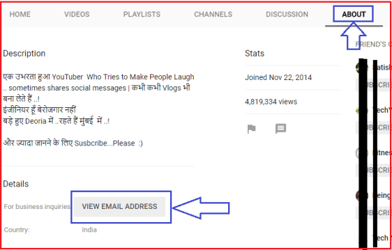 find youtuber email id