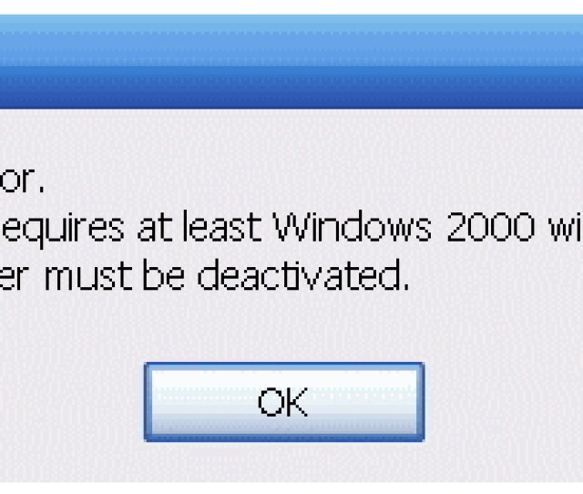 This Program Requires At Least Windows 2000 With Sptd 1 21 Or