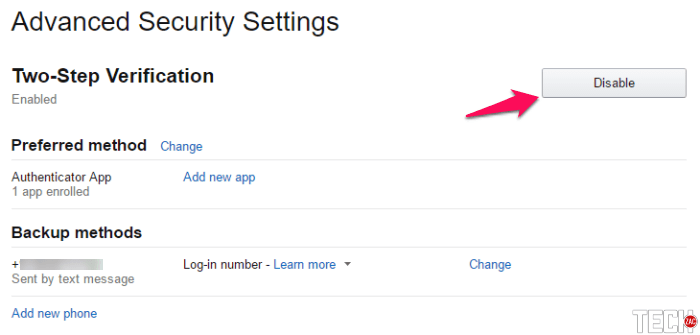 DISABLE TWO-STEP VERIFICATION ON AMAZON