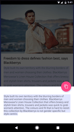 Copy Text from Android App