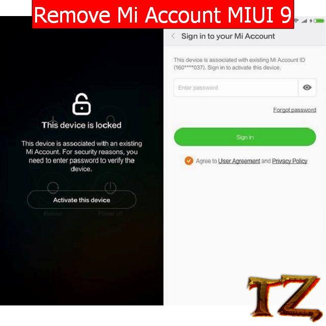 remove MI account on MIUI 9