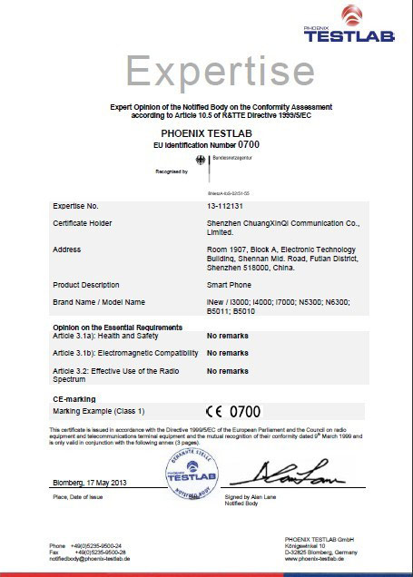 Scanned copy of Shenzhen ChuangXinQi Communication Co. Ltd CE certificate for the iNew V3 available here.