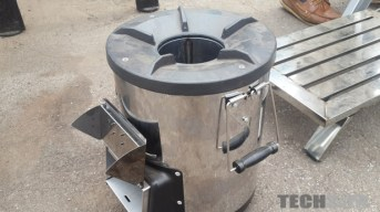 "The rocket stove used as a backup for ""dark"" days"