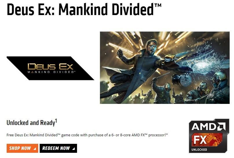 Now get Deus Ex: Mankind Divided for free with AMD 6-8 core CPUs